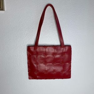 The Sak Red Leather Square Tiles Bag Tote